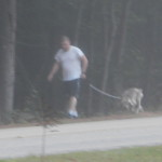 Hubby walking the dog early this morning.