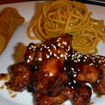 Homemade Honey Baked Sesame Chicken (with Super Canton Lo Mein &  Egg Roll).