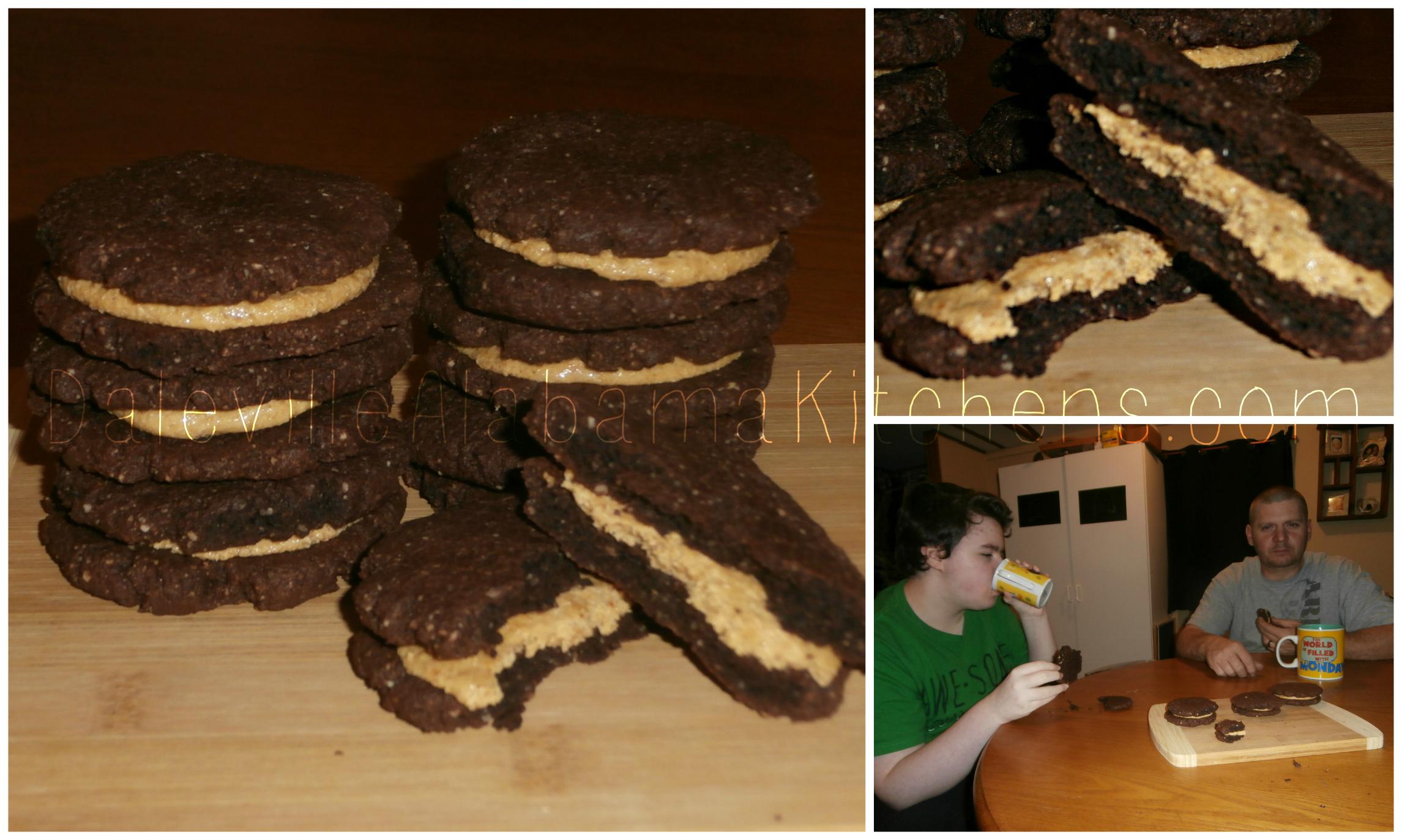 CHOCOLATE PEANUT BUTTER SANDWICH COOKIES! #LCHF #GRAINFREE